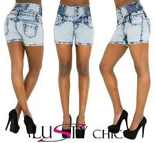 Sexy Womens Ladies Blue High Waisted Stretch Shorts Denim Jeans Pant Size 6-14