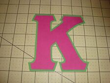5 INCH GREEK SORORITY/FRATERNITY (NO SEW) IRON ON LETTERS -HOT PINK/GREEN