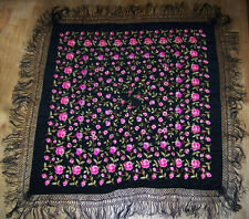 "Womens Vintage Black Large Square Shawl With Hand Embroidered Roses. 50"" x 50""."