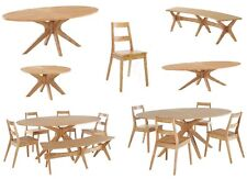 dining table and chairs matching bench and coffee table and lamp table in oak