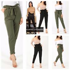 NEW WOMENS LADIES CASUAL CREPE STRETCH TAPERED LEG PLAIN TROUSERS SLIM FIT PANTS