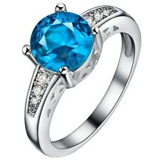 925 1.5CT DIAMOND SIMULATED BLUE TOPAZ RING WOW size 6 - 9 u choose