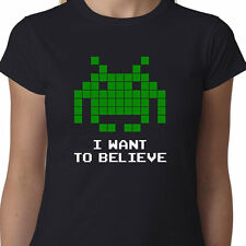 I Want To Believe SPACE INVADERS Ladies t-shirt ARCADE GAMER ALIENS FUNNY GEEK
