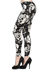 Banned Skulls & Roses Leggings Stretch Pants Gothic Rockabilly White 10 12 14 16