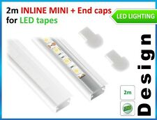 LED PROFILE INLINE MINI for LED STRIPES 2m WHITE PIANO + 2 end caps /top quality