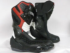 MOTORCYCLE MOTORBIKE SPORTS RACE ARMOUR BOOTS BLACK/RED/WHITE  NEW
