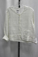 NWT FLAX UnderFLAX Detail Half a Shirt in Saline Grid linen Small or Med or L
