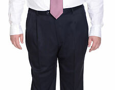 Palm Beach Mens Solid Navy Blue Double Pleated Wool Blend Dress Pants
