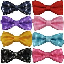 Kids Child Boys Girls Polka Dots Bowtie Pre Tied Multi-Color Bow Tie Necktie H53