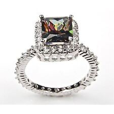 Sterling Silver Emerald Cut Fire Mystic Topaz And White Cz Cocktail Ring