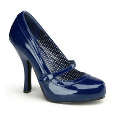 Pin Up Couture CUTIEPIE-02 Platforms Navy Blue Patent Mary Jane Pump High Heels