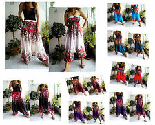 VERY LONG HAREM PANTS YOGA GENIE JUMPSUIT FLOWER FLORAL HANDMADE 45""