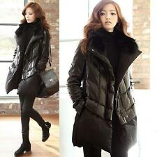 Women's Glam Cotton Padded Jacket Coat Real Fur Collar Parka Overcoat  Outerwear