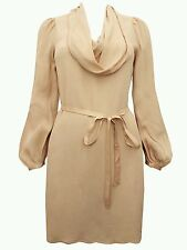Ex French  Connection valli cowl neck ribbon tie dress Nude RRP £92 6 10 12 14