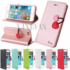 Cherry Magnetic Luxury Cute Leather Card Wallet Flip Case Cover For Apple iPhone