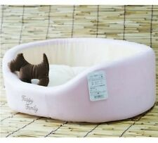 New Sweet solid Pet Dog Cat Soft Bed House +dog toy Brown/Pink S,M,L