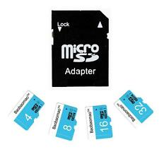 4/8/16/32GB Micro SD Card TF Flash Memory Class 4 Free Adapter Blue&White