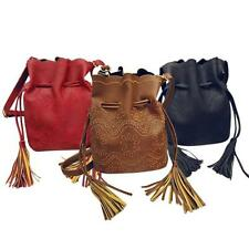 Retro Lady's Fringe Tassel Shoulder Bag PU Leather Drawstring Crossbody Handbag