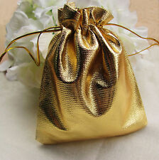 50Pcs/lot 9*12cm Gold Silver Drawstring Organza Jewelry Pouch Wedding Gift Bag