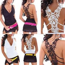 Fashion Women Summer Vest Top Blouse Casual Tank Lace T-Shirt Sleeveless Tops