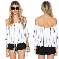 New Womens Sexy Stripe Off-shoulder Chiffon Blouse Lady Loose Shirt Tops Clothes