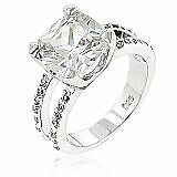 Rhodium Plated Cocktail 5-Carat Prong Set Cushion Cut Clear Cubic Zirconia Ring