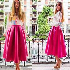 New Fashion Women Swing High Waist Flared Skater Pleated A Line Midi Skirt OO55