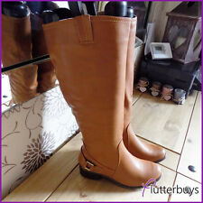 Womens Riding Boots knee high Mid heel Faux Leather ladies Black & Camel  size