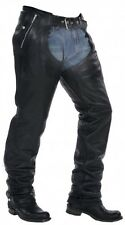 NEW PREMIUM COWHIDE LEATHER MOTORCYCLE BIKER CHAPS W/ EZ OUT INSULATED LINER$169