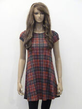 New womens red and black tartan check short swing dress size 8-16