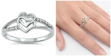 Sterling Silver 925 DOUBLE HEART LOVE DESIGN CZ PROMISE RING 9MM SIZES 4-10