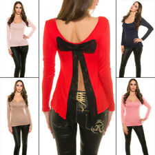 Sexy T-shirt Clubwear Top With Long Sleeves Cut Out Back and Lace Bow KouCla