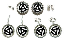 45 RPM RECORD ADAPTER BOTTLE CAP PIERCED or CLIP ON EARRINGS - 4 CHOICES