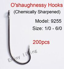 200pcs Sharpened Coated O'shaughnessy Fishing Hooks Long Shank Hook 9255