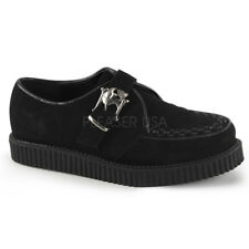 Demonia CREEPER-605 Black Platform Monk Skull Buckle Stud Casual Men's Shoes