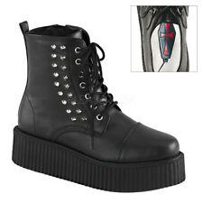 Demonia V-CREEPER-573 Black Platform Lace-Up Ankle Boot Spikes Studded Shoes