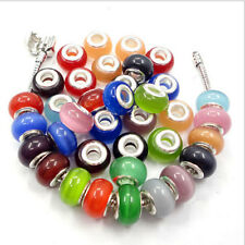 Round Faceted Glass Spacer Loose Beads Fit European Charm Bracelet 10 PCS