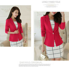 New Fashion Womens Long Sleeve One Button Blazer Casual Jacket Slim Suit Coat