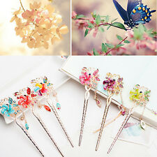 Elegant Charm Bobby Pin Flower Butterfly Hairpin Colorful Rhinestone Hair Stick