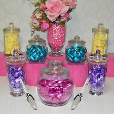 Candy Jars Lolly Buffet .. 7 JARS + 3 x SCOOPS Apothecary Jars Birthday Wedding