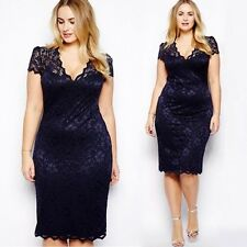 Women Plus Size Celeb Ladies Bodycon Short Sleeve Evening Party Lace Dress L-3XL