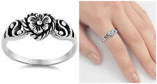 Sterling Silver 925 PLUMERIA FLOWER WITH HEART DESIGN RING 8MM SIZES 4-12