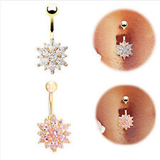 Hot Crystal Rhinestone Flower Jewelry Navel Bar Body Piercing Belly Button Rings