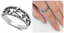 Sterling SIlver 925 PRETTY DRAGONFLY DESIGN SILVER  BAND RING 8MM SIZES 4-10