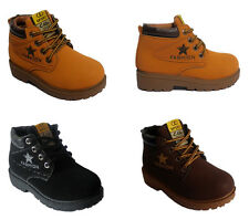 Girls Boys Kids Walking Outdoor Shoes Low Heel Lace Up Textile Abkle Boots Size
