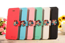 Jewel Flower For Apple iPhone 5/5S Stand Flip Leather Magnetic Wallet Cover Case
