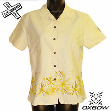 OXBOW 'ROSLY' WOMENS SHORT SLEEVE SHIRT TAN FLOWER UK 12 SURF BNWT RRP £55