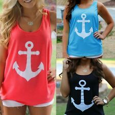 2016 Anchor Vest Tank Tops Graphic Tee Women Back Bow Sleeveless Shirt Debardeur