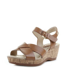 Womens Hush Puppies Eva Farris Tan Leather Cork Wedge Heel Sandals Shu Size