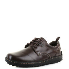 Mens Hush Puppies Belfast Oxford Plain Toe Brown Leather Smart Shoes Shu Size